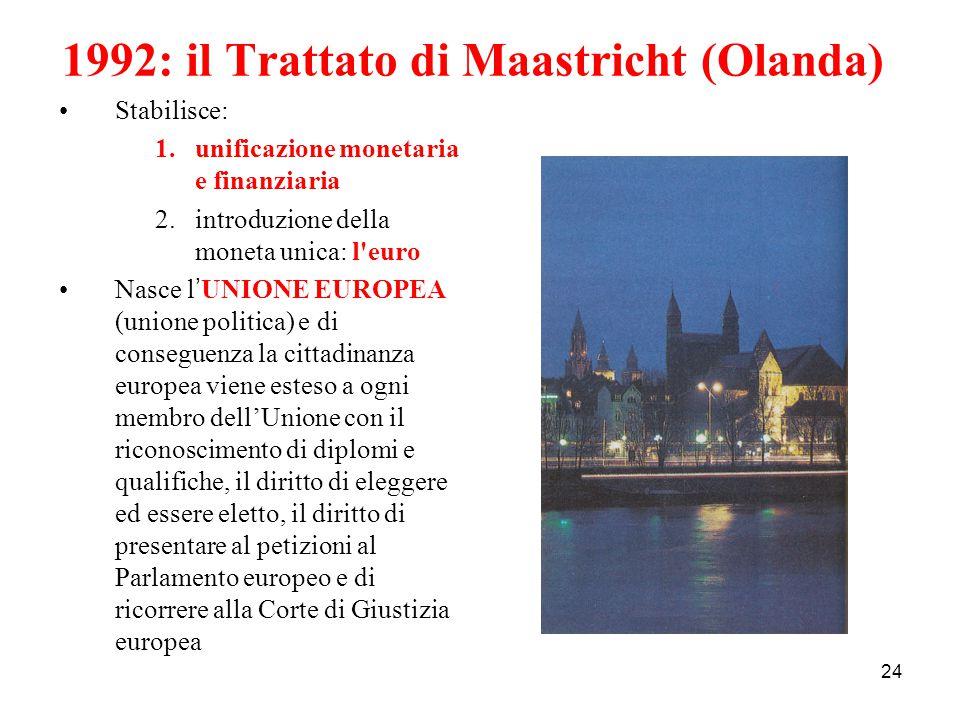 24 1992: il Trattato di Maastricht (Olanda) Stabilisce: 1.unificazione monetaria e finanziaria 2.introduzione della moneta unica: l'euro Nasce l ' UNI