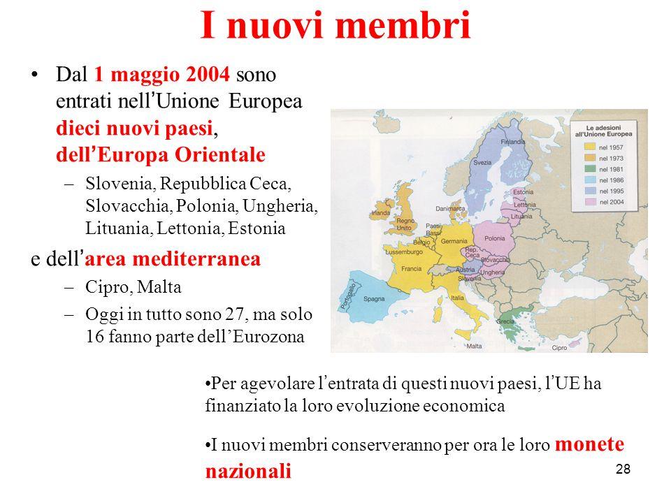 28 I nuovi membri Dal 1 maggio 2004 sono entrati nell ' Unione Europea dieci nuovi paesi, dell ' Europa Orientale –Slovenia, Repubblica Ceca, Slovacch