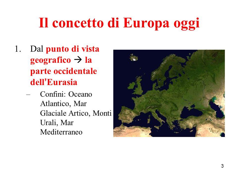 3 Il concetto di Europa oggi 1.Dal punto di vista geografico  la parte occidentale dell ' Eurasia –Confini: Oceano Atlantico, Mar Glaciale Artico, Mo