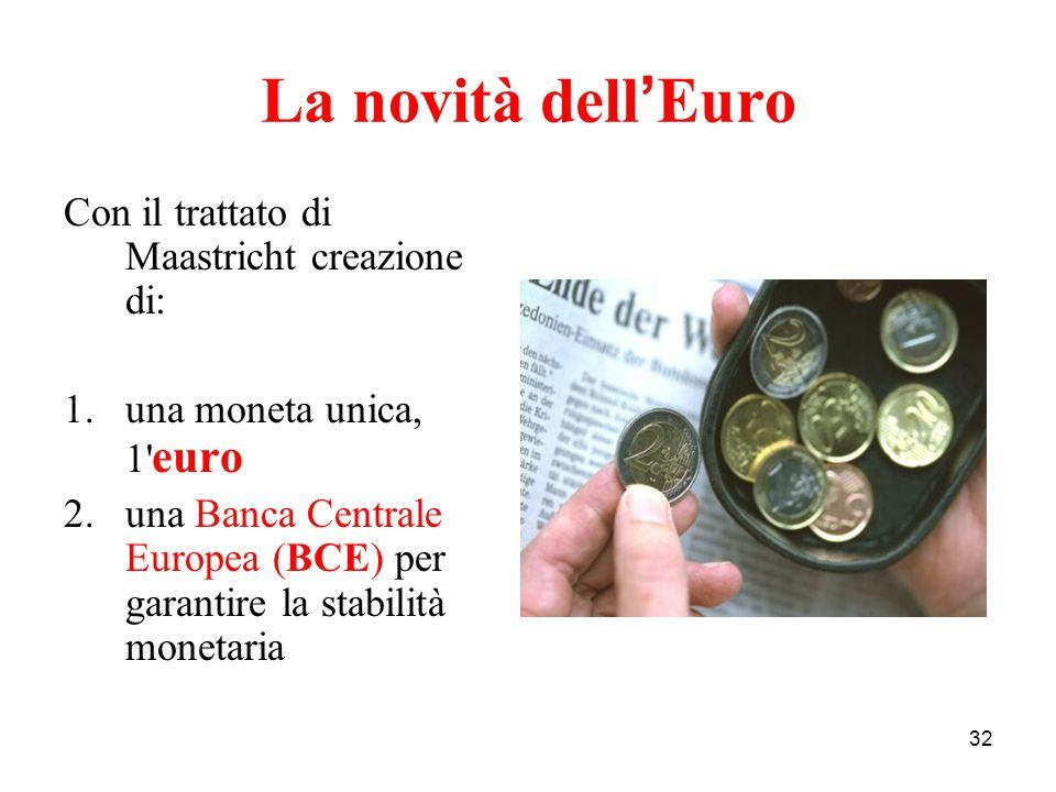32 La novità dell ' Euro Con il trattato di Maastricht creazione di: 1.una moneta unica, 1' euro 2.una Banca Centrale Europea (BCE) per garantire la s