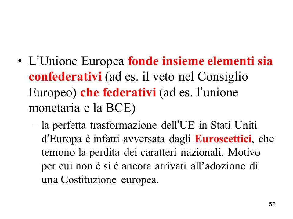 52 L ' Unione Europea fonde insieme elementi sia confederativi (ad es. il veto nel Consiglio Europeo) che federativi (ad es. l ' unione monetaria e la