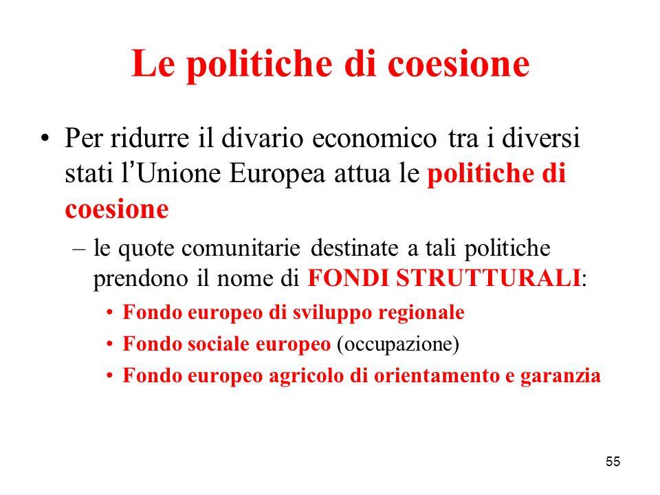 55 Le politiche di coesione Per ridurre il divario economico tra i diversi stati l ' Unione Europea attua le politiche di coesione –le quote comunitar