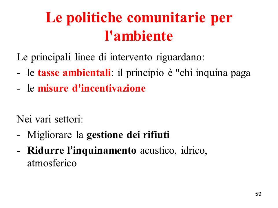 59 Le politiche comunitarie per l'ambiente Le principali linee di intervento riguardano: -le tasse ambientali: il principio è