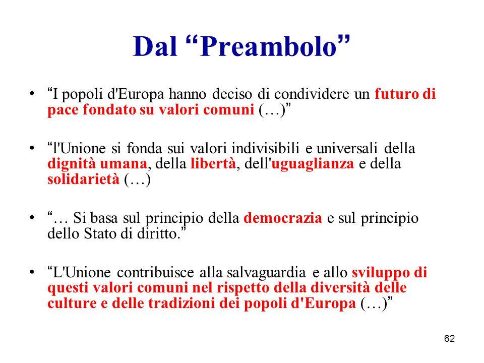 """62 Dal """" Preambolo """" """" I popoli d'Europa hanno deciso di condividere un futuro di pace fondato su valori comuni (…) """" """" l'Unione si fonda sui valori i"""