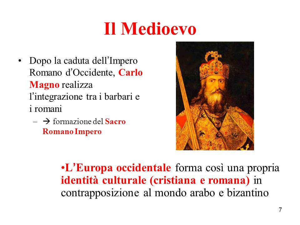 7 Il Medioevo Dopo la caduta dell ' Impero Romano d ' Occidente, Carlo Magno realizza l ' integrazione tra i barbari e i romani –  formazione del Sac