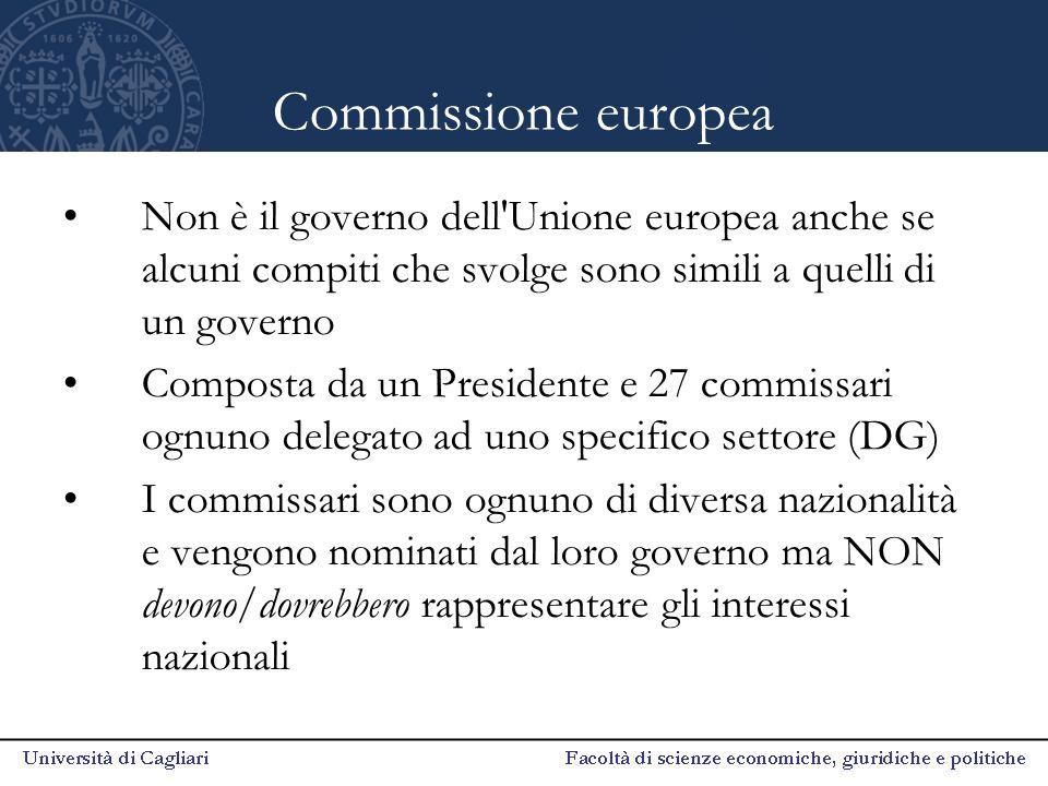 Commissione europea Non è il governo dell'Unione europea anche se alcuni compiti che svolge sono simili a quelli di un governo Composta da un Presiden