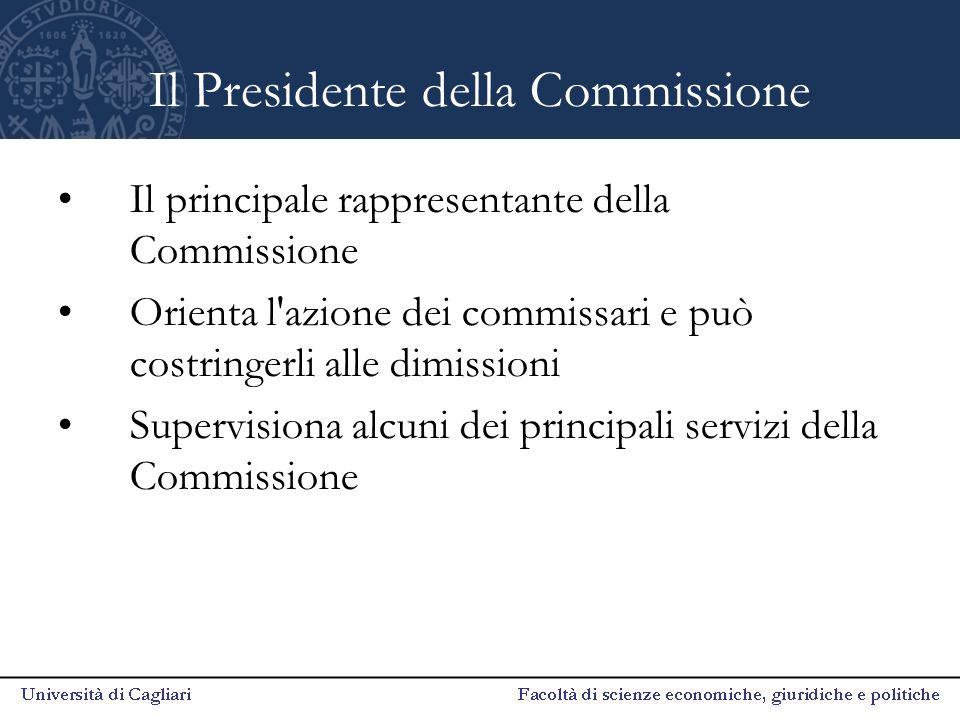 Il Presidente della Commissione Il principale rappresentante della Commissione Orienta l'azione dei commissari e può costringerli alle dimissioni Supe