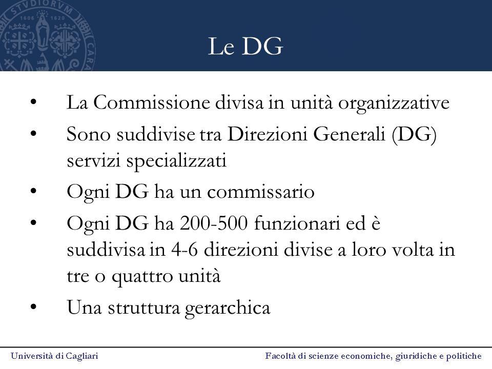 Le DG La Commissione divisa in unità organizzative Sono suddivise tra Direzioni Generali (DG) servizi specializzati Ogni DG ha un commissario Ogni DG