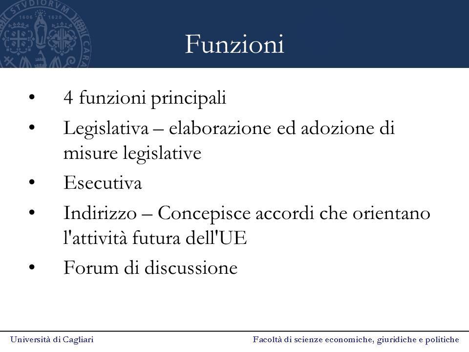 Funzioni 4 funzioni principali Legislativa – elaborazione ed adozione di misure legislative Esecutiva Indirizzo – Concepisce accordi che orientano l'a