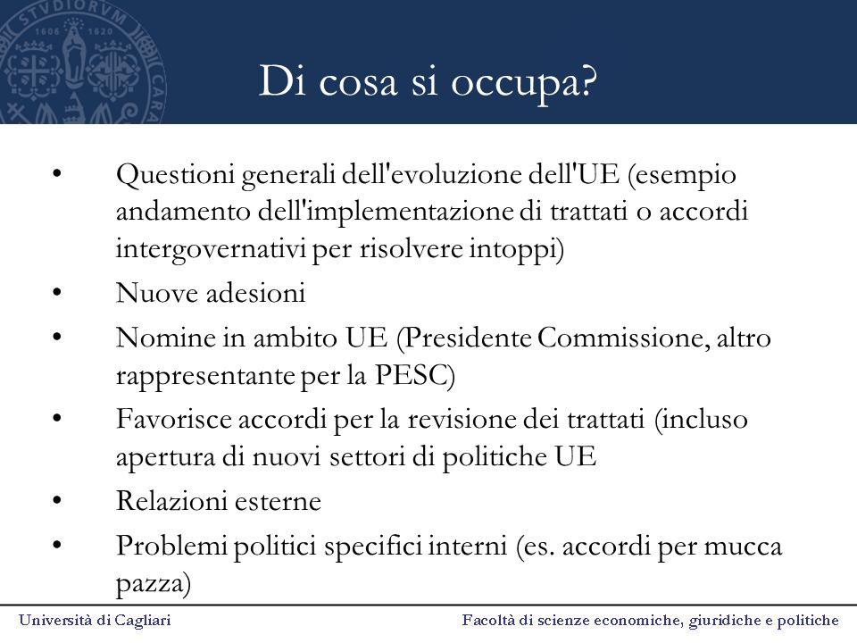 Di cosa si occupa? Questioni generali dell'evoluzione dell'UE (esempio andamento dell'implementazione di trattati o accordi intergovernativi per risol