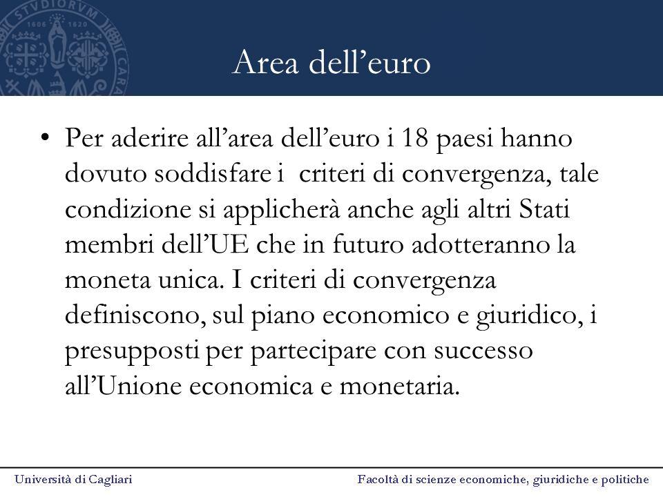 Area dell'euro Per aderire all'area dell'euro i 18 paesi hanno dovuto soddisfare i criteri di convergenza, tale condizione si applicherà anche agli al