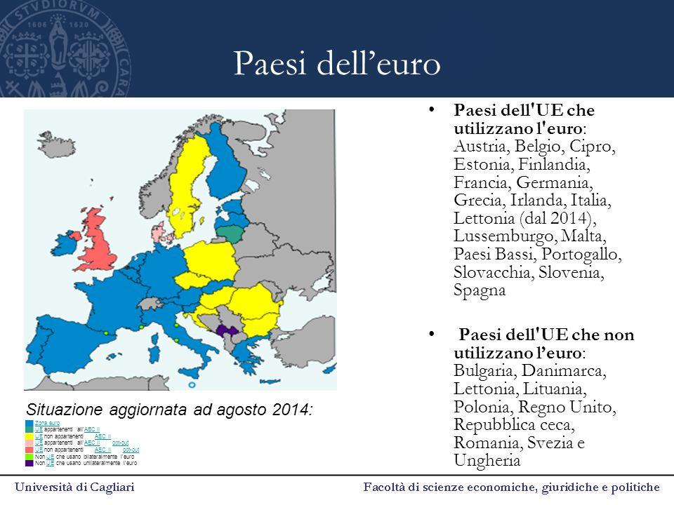 Paesi dell'euro Paesi dell'UE che utilizzano l'euro: Austria, Belgio, Cipro, Estonia, Finlandia, Francia, Germania, Grecia, Irlanda, Italia, Lettonia