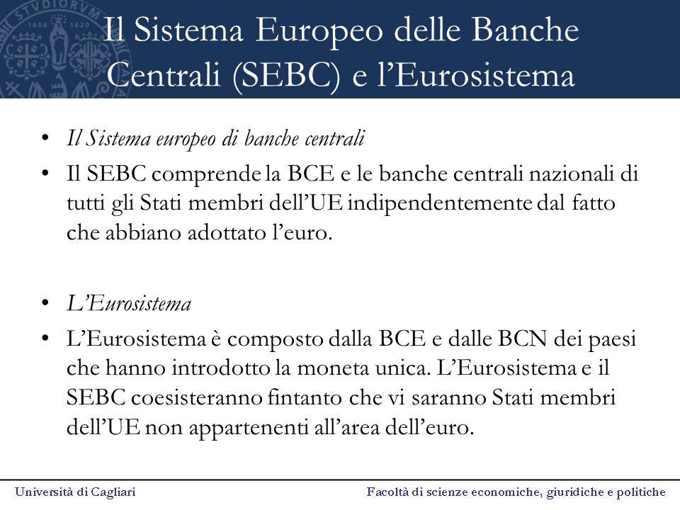 Il Sistema Europeo delle Banche Centrali (SEBC) e l'Eurosistema Il Sistema europeo di banche centrali Il SEBC comprende la BCE e le banche centrali na