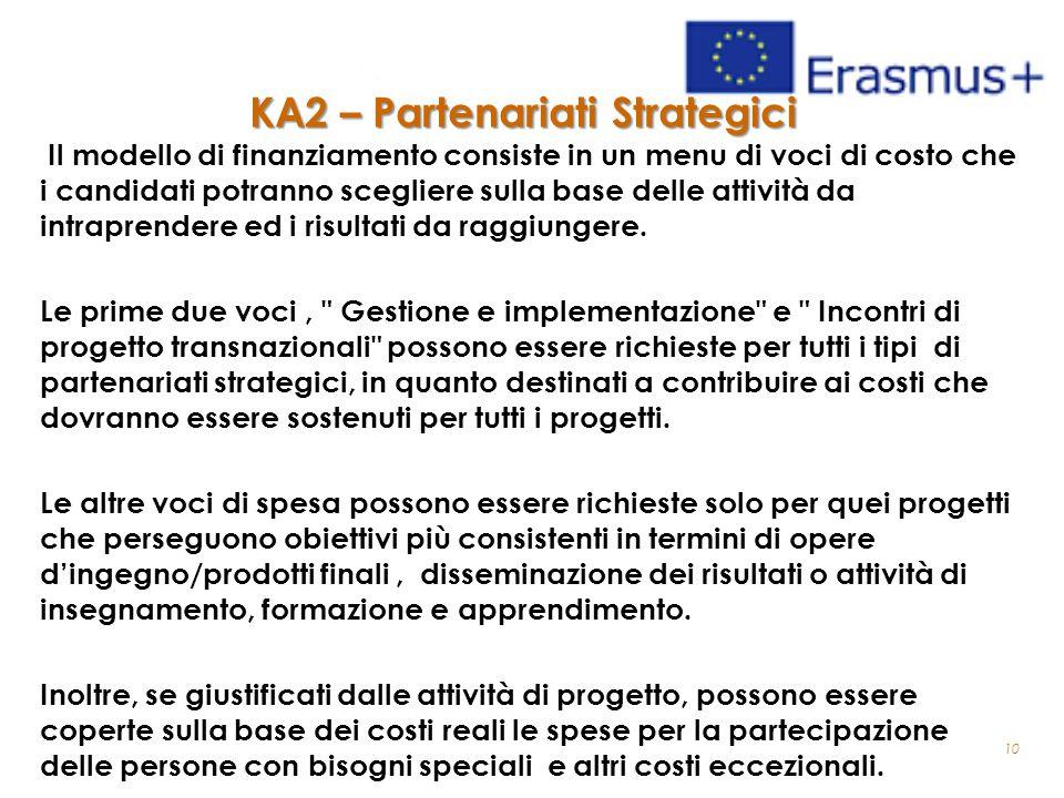 10 KA2 – Partenariati Strategici Il modello di finanziamento consiste in un menu di voci di costo che i candidati potranno scegliere sulla base delle attività da intraprendere ed i risultati da raggiungere.