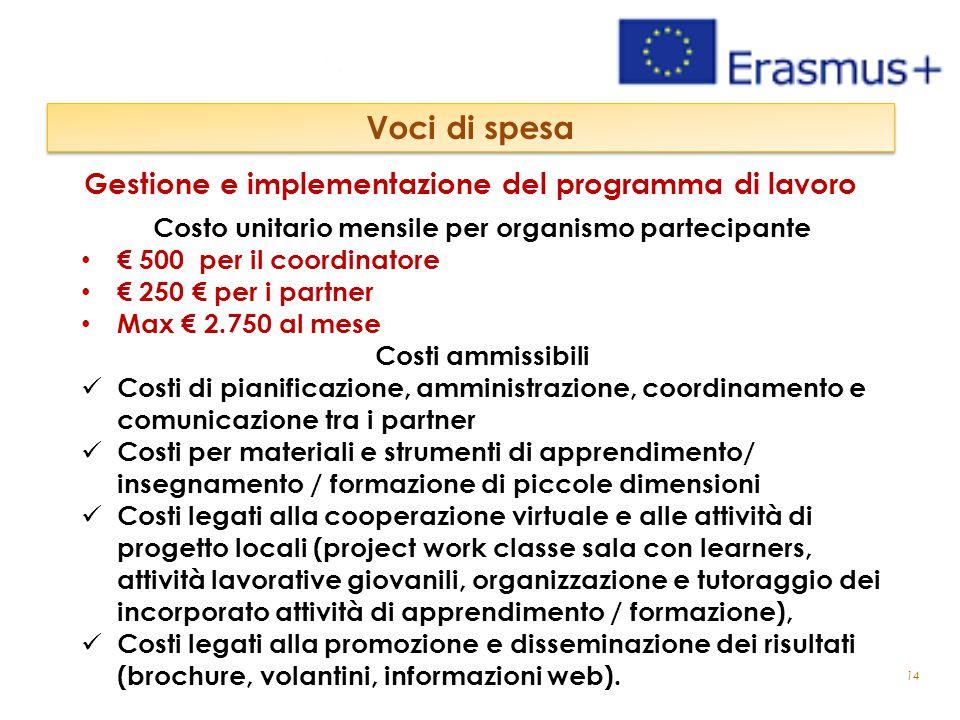 14 Gestione e implementazione del programma di lavoro Voci di spesa Costo unitario mensile per organismo partecipante € 500 per il coordinatore € 250