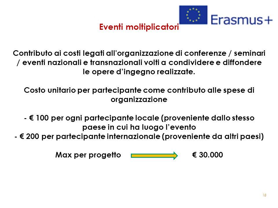 18 Eventi moltiplicatori Contributo ai costi legati all'organizzazione di conferenze / seminari / eventi nazionali e transnazionali volti a condivider