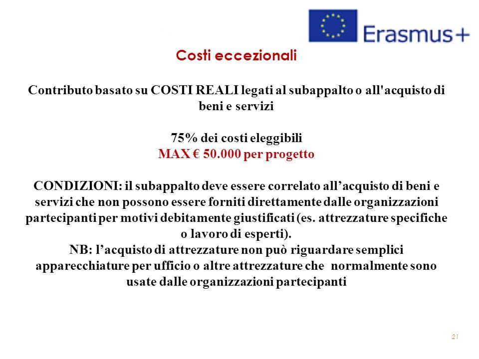21 Costi eccezionali Contributo basato su COSTI REALI legati al subappalto o all'acquisto di beni e servizi 75% dei costi eleggibili MAX € 50.000 per