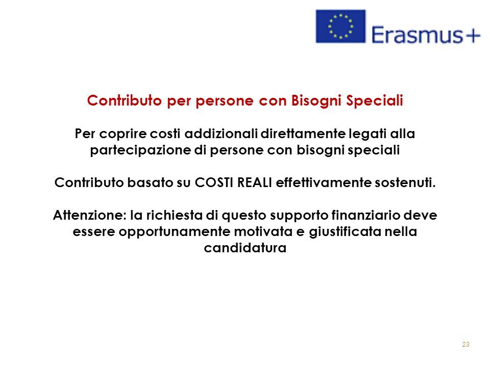 23 Contributo per persone con Bisogni Speciali Per coprire costi addizionali direttamente legati alla partecipazione di persone con bisogni speciali Contributo basato su COSTI REALI effettivamente sostenuti.