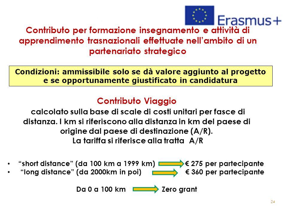 24 Contributo per formazione insegnamento e attività di apprendimento trasnazionali effettuate nell'ambito di un partenariato strategico Contributo Viaggio calcolato sulla base di scale di costi unitari per fasce di distanza.