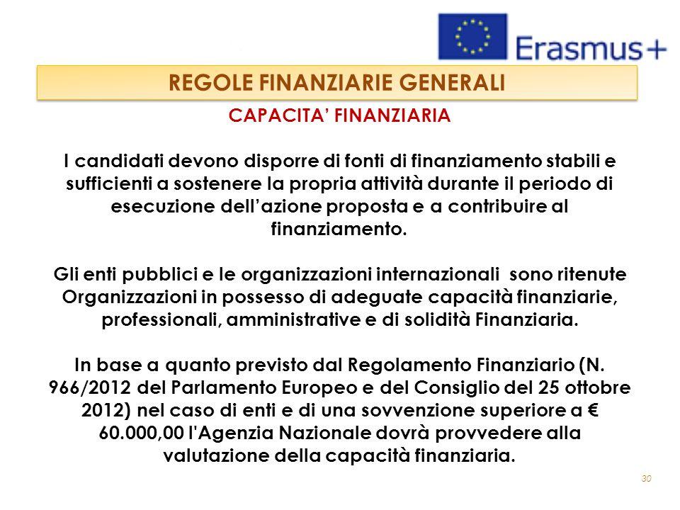 30 CAPACITA' FINANZIARIA I candidati devono disporre di fonti di finanziamento stabili e sufficienti a sostenere la propria attività durante il periodo di esecuzione dell'azione proposta e a contribuire al finanziamento.