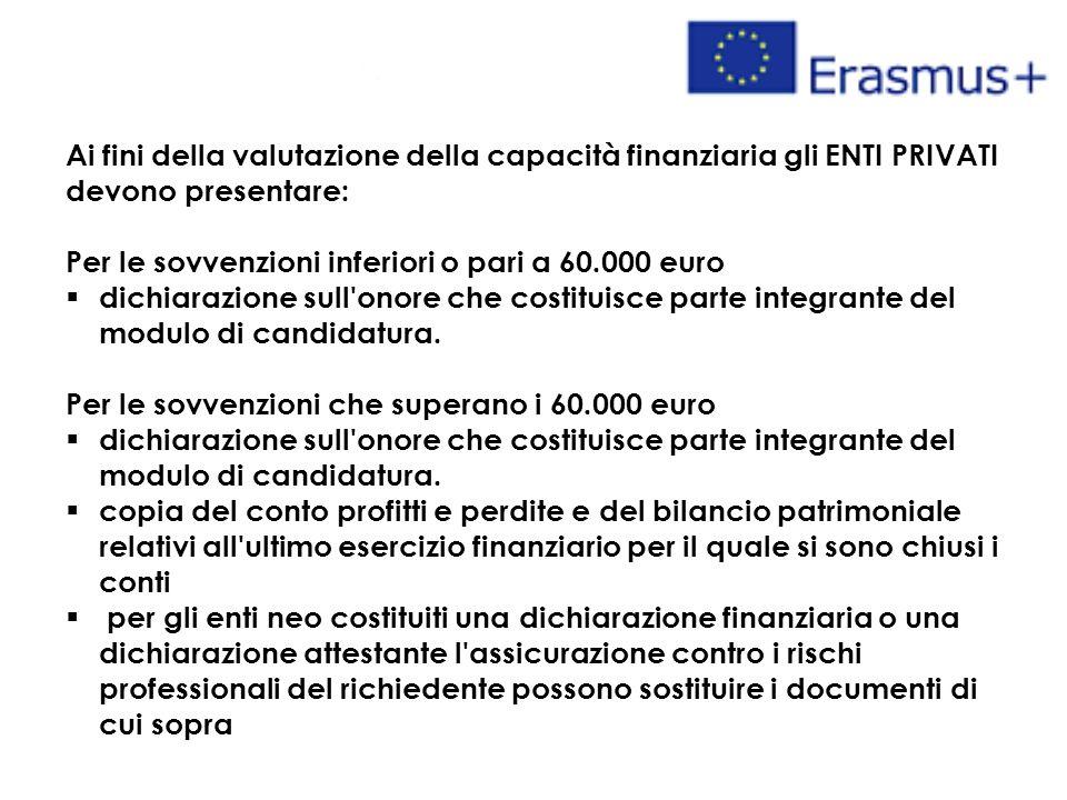Ai fini della valutazione della capacità finanziaria gli ENTI PRIVATI devono presentare: Per le sovvenzioni inferiori o pari a 60.000 euro  dichiarazione sull onore che costituisce parte integrante del modulo di candidatura.