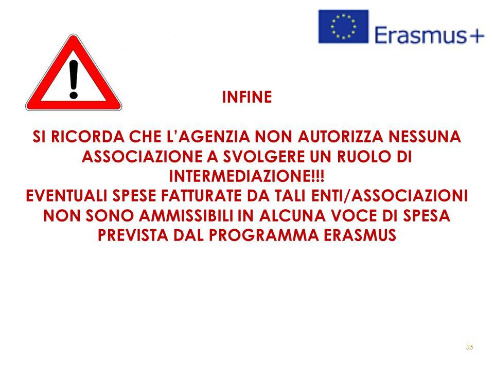 35 INFINE SI RICORDA CHE L'AGENZIA NON AUTORIZZA NESSUNA ASSOCIAZIONE A SVOLGERE UN RUOLO DI INTERMEDIAZIONE!!.