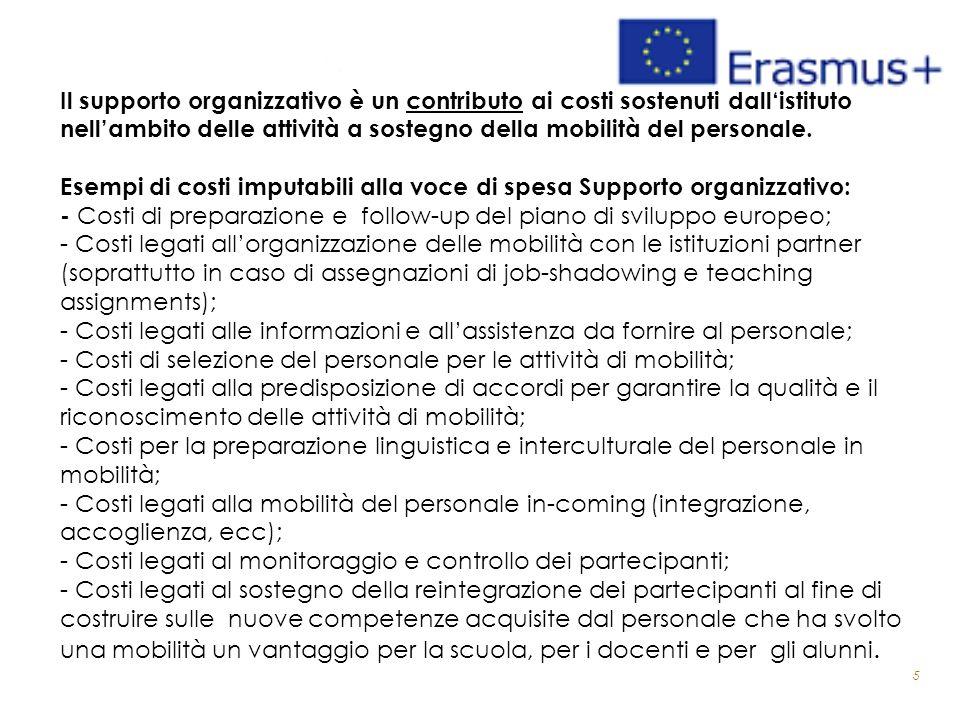 5 Il supporto organizzativo è un contributo ai costi sostenuti dall'istituto nell'ambito delle attività a sostegno della mobilità del personale. Esemp