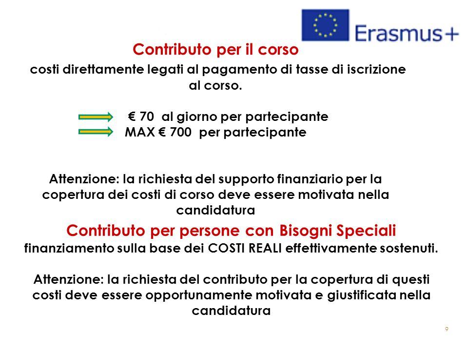9 Contributo per il corso costi direttamente legati al pagamento di tasse di iscrizione al corso. € 70 al giorno per partecipante MAX € 700 per partec