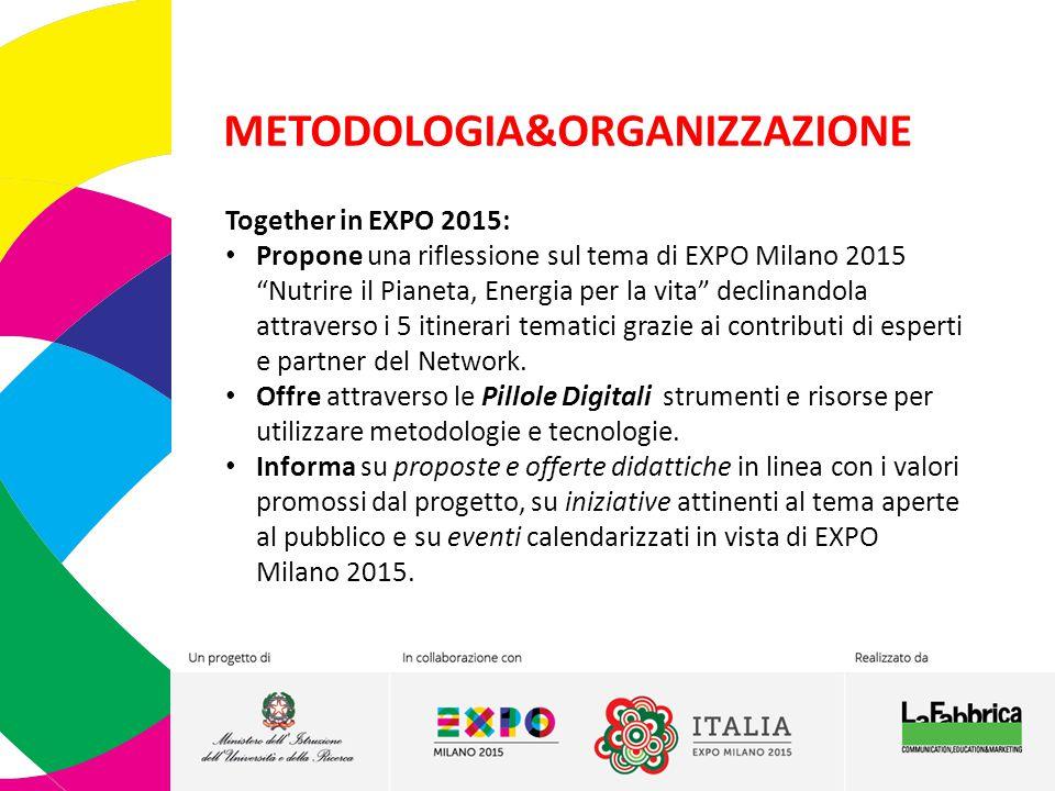 """METODOLOGIA&ORGANIZZAZIONE Together in EXPO 2015: Propone una riflessione sul tema di EXPO Milano 2015 """"Nutrire il Pianeta, Energia per la vita"""" decli"""