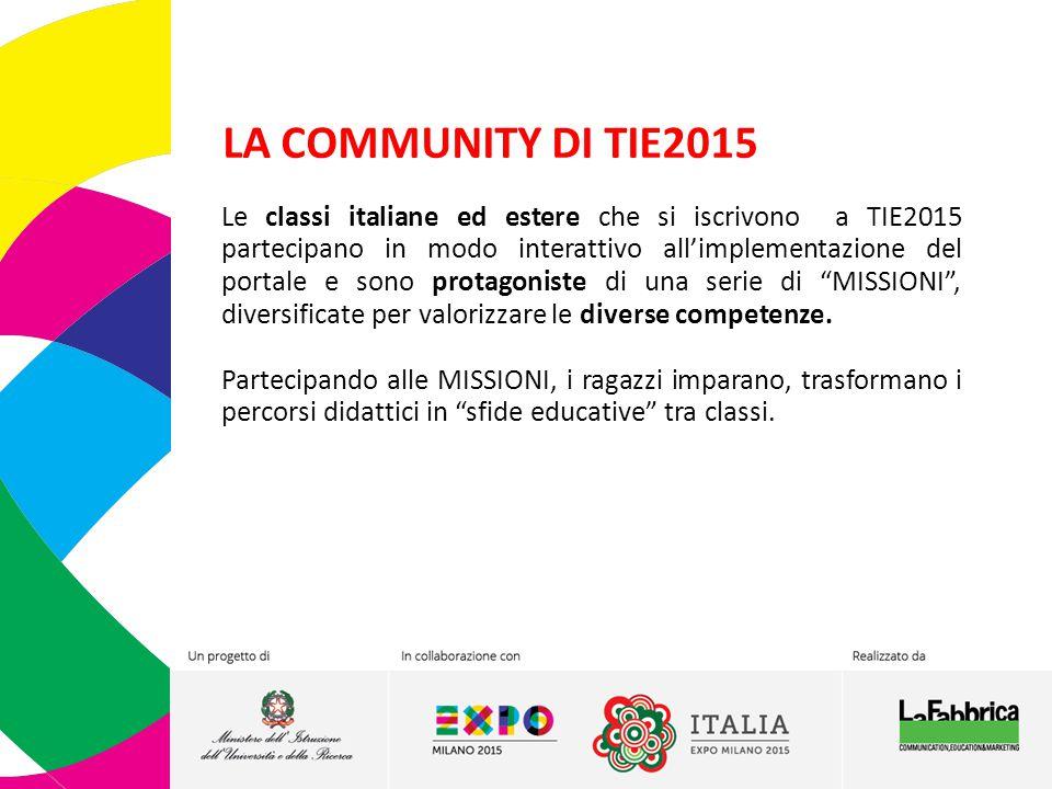 LA COMMUNITY DI TIE2015 Le classi italiane ed estere che si iscrivono a TIE2015 partecipano in modo interattivo all'implementazione del portale e sono