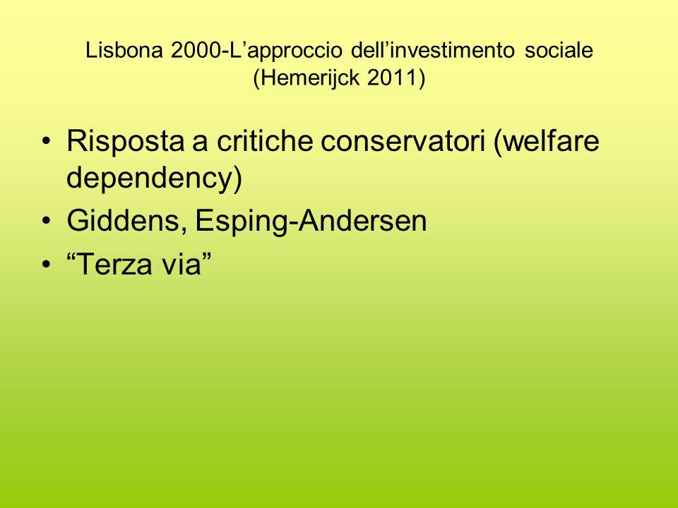 Lisbona 2000-L'approccio dell'investimento sociale (Hemerijck 2011) Risposta a critiche conservatori (welfare dependency) Giddens, Esping-Andersen Terza via