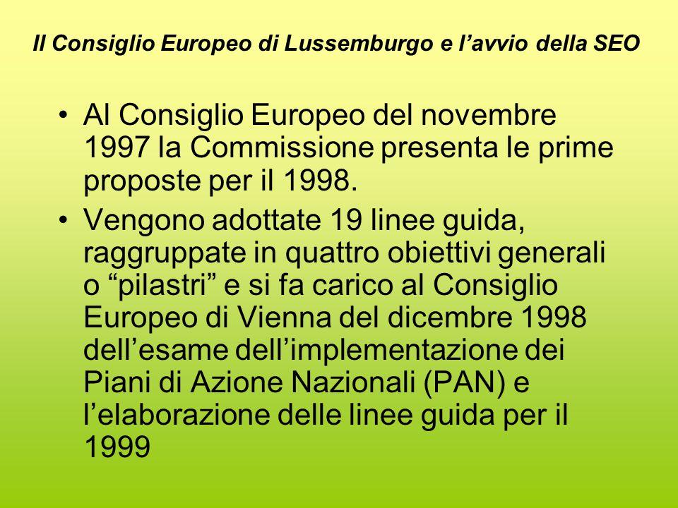 Il Consiglio Europeo di Lussemburgo e l'avvio della SEO Al Consiglio Europeo del novembre 1997 la Commissione presenta le prime proposte per il 1998.