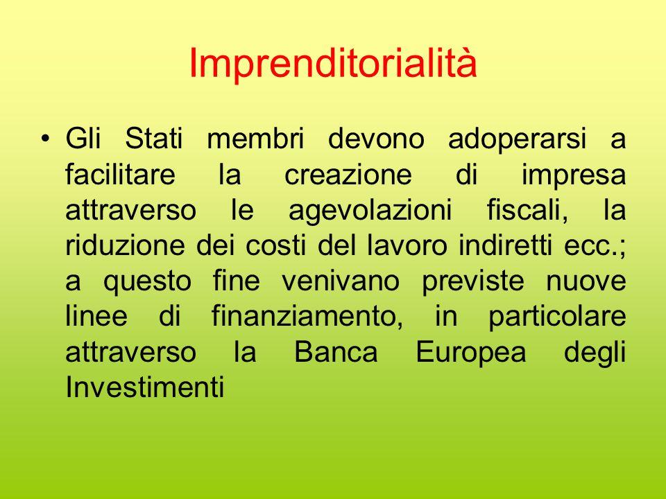 Imprenditorialità Gli Stati membri devono adoperarsi a facilitare la creazione di impresa attraverso le agevolazioni fiscali, la riduzione dei costi del lavoro indiretti ecc.; a questo fine venivano previste nuove linee di finanziamento, in particolare attraverso la Banca Europea degli Investimenti