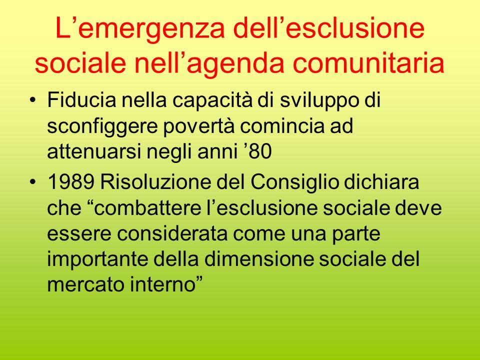 L'emergenza dell'esclusione sociale nell'agenda comunitaria Fiducia nella capacità di sviluppo di sconfiggere povertà comincia ad attenuarsi negli anni '80 1989 Risoluzione del Consiglio dichiara che combattere l'esclusione sociale deve essere considerata come una parte importante della dimensione sociale del mercato interno