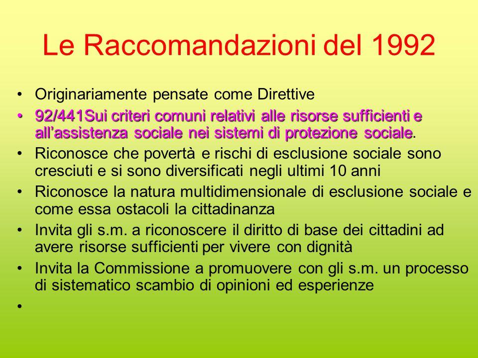 Le Raccomandazioni del 1992 Originariamente pensate come Direttive 92/441Sui criteri comuni relativi alle risorse sufficienti e all'assistenza sociale nei sistemi di protezione sociale92/441Sui criteri comuni relativi alle risorse sufficienti e all'assistenza sociale nei sistemi di protezione sociale.