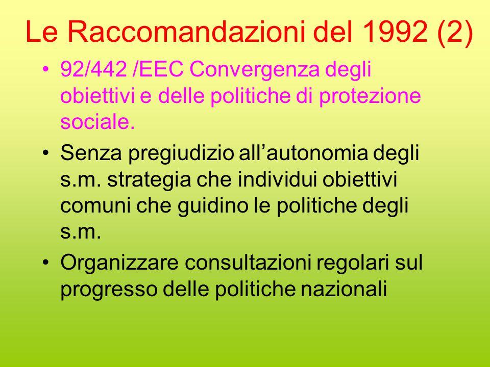 Le Raccomandazioni del 1992 (2) 92/442 /EEC Convergenza degli obiettivi e delle politiche di protezione sociale.