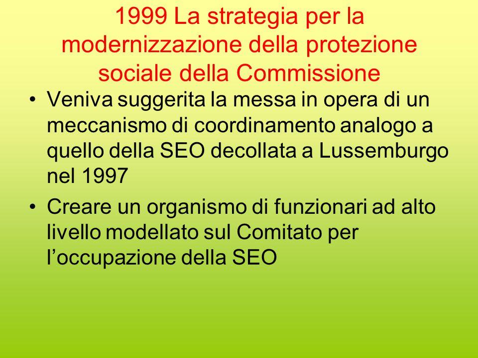 1999 La strategia per la modernizzazione della protezione sociale della Commissione Veniva suggerita la messa in opera di un meccanismo di coordinamento analogo a quello della SEO decollata a Lussemburgo nel 1997 Creare un organismo di funzionari ad alto livello modellato sul Comitato per l'occupazione della SEO