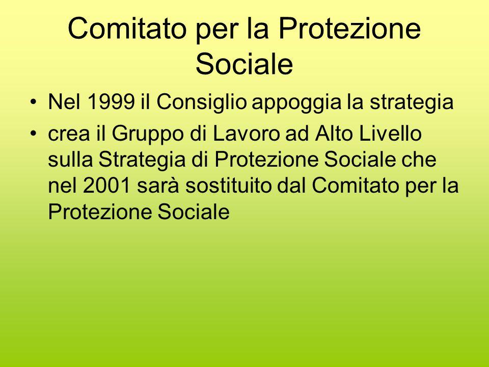 Comitato per la Protezione Sociale Nel 1999 il Consiglio appoggia la strategia crea il Gruppo di Lavoro ad Alto Livello sulla Strategia di Protezione Sociale che nel 2001 sarà sostituito dal Comitato per la Protezione Sociale