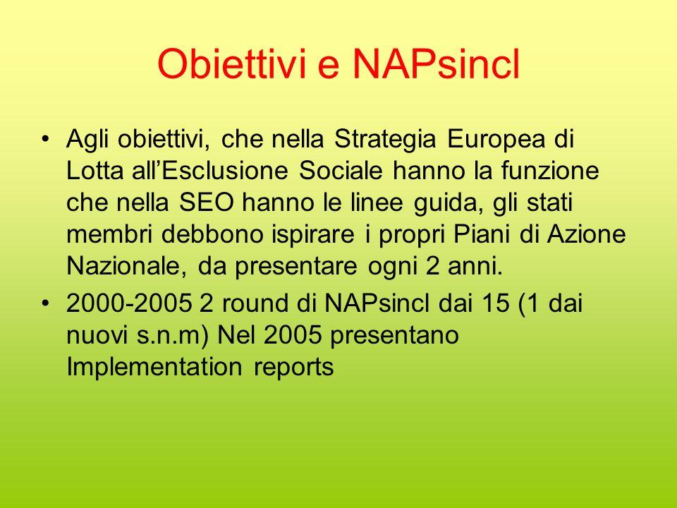 Obiettivi e NAPsincl Agli obiettivi, che nella Strategia Europea di Lotta all'Esclusione Sociale hanno la funzione che nella SEO hanno le linee guida, gli stati membri debbono ispirare i propri Piani di Azione Nazionale, da presentare ogni 2 anni.