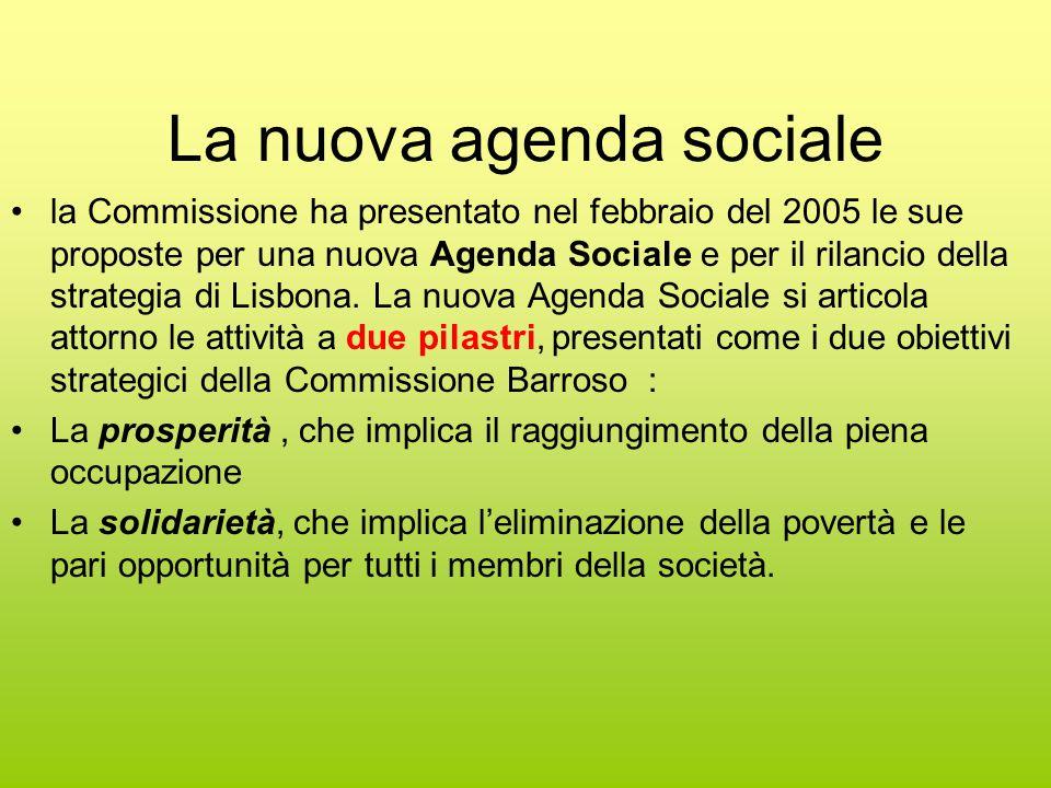 La nuova agenda sociale la Commissione ha presentato nel febbraio del 2005 le sue proposte per una nuova Agenda Sociale e per il rilancio della strategia di Lisbona.