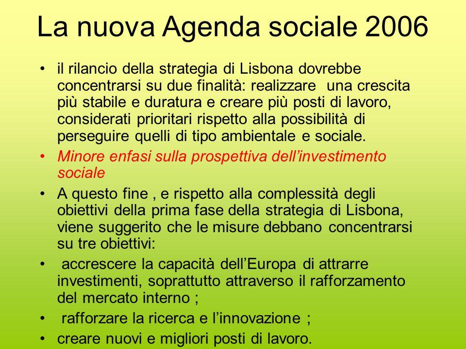 La nuova Agenda sociale 2006 il rilancio della strategia di Lisbona dovrebbe concentrarsi su due finalità: realizzare una crescita più stabile e duratura e creare più posti di lavoro, considerati prioritari rispetto alla possibilità di perseguire quelli di tipo ambientale e sociale.