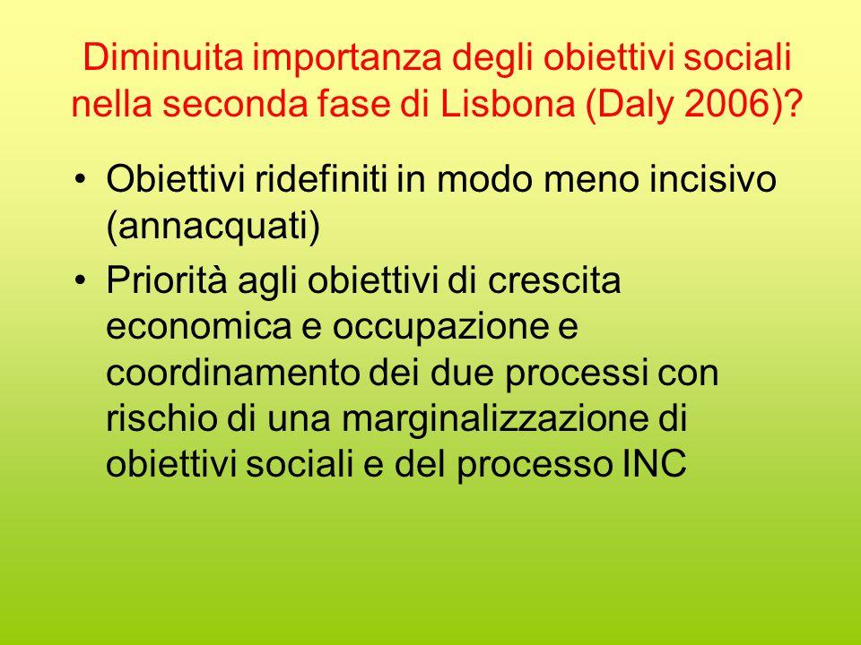 Diminuita importanza degli obiettivi sociali nella seconda fase di Lisbona (Daly 2006).
