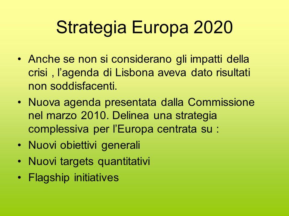 Strategia Europa 2020 Anche se non si considerano gli impatti della crisi, l'agenda di Lisbona aveva dato risultati non soddisfacenti.