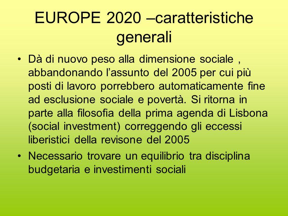 EUROPE 2020 –caratteristiche generali Dà di nuovo peso alla dimensione sociale, abbandonando l'assunto del 2005 per cui più posti di lavoro porrebbero automaticamente fine ad esclusione sociale e povertà.