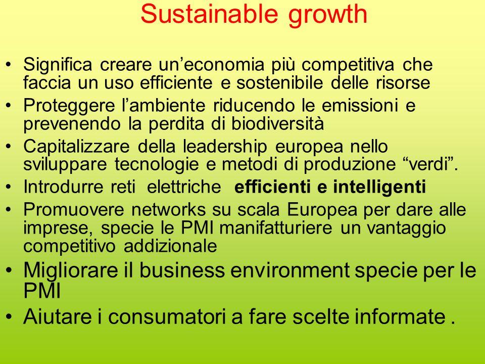 Sustainable growth Significa creare un'economia più competitiva che faccia un uso efficiente e sostenibile delle risorse Proteggere l'ambiente riducendo le emissioni e prevenendo la perdita di biodiversità Capitalizzare della leadership europea nello sviluppare tecnologie e metodi di produzione verdi .