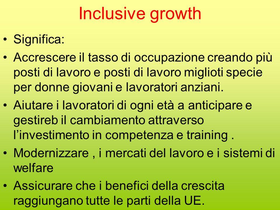 Inclusive growth Significa: Accrescere il tasso di occupazione creando più posti di lavoro e posti di lavoro miglioti specie per donne giovani e lavoratori anziani.