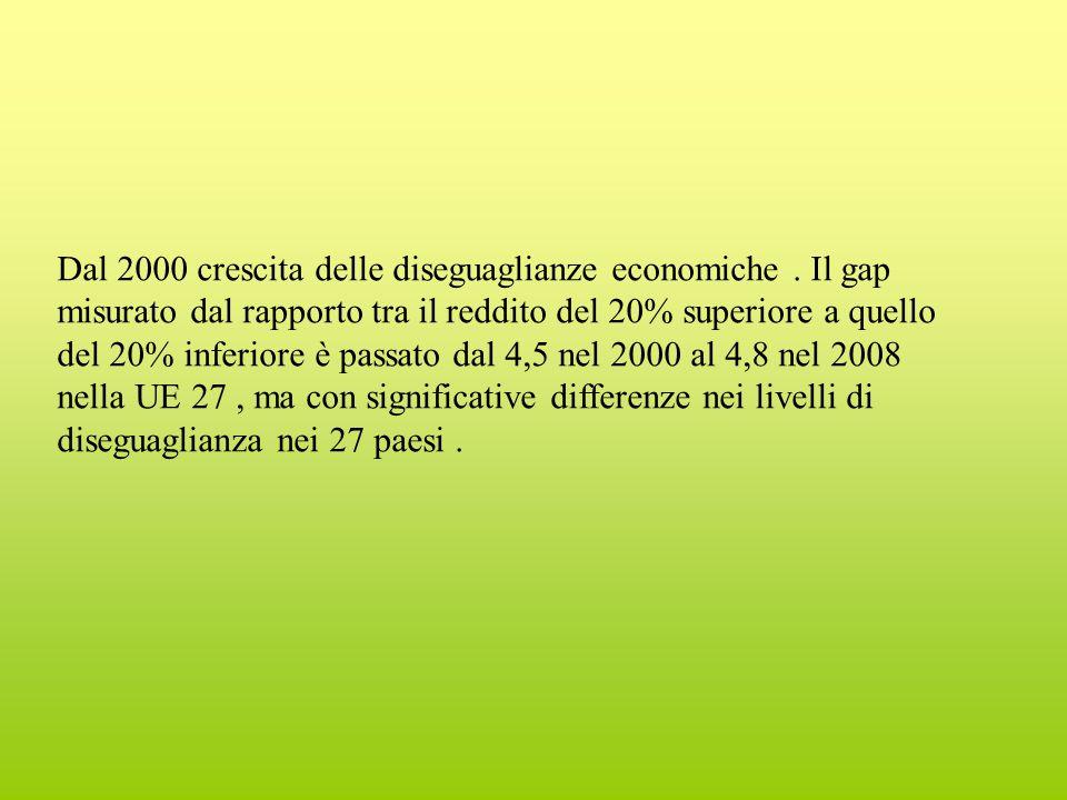 Dal 2000 crescita delle diseguaglianze economiche.