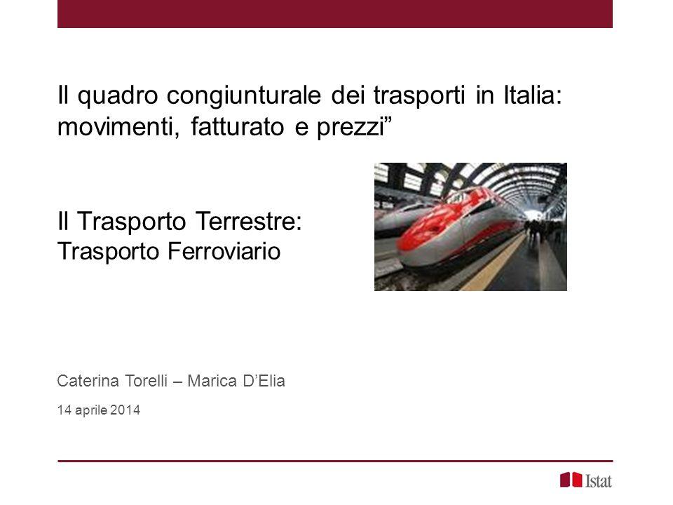 """Il quadro congiunturale dei trasporti in Italia: movimenti, fatturato e prezzi"""" Il Trasporto Terrestre: Trasporto Ferroviario Caterina Torelli – Maric"""
