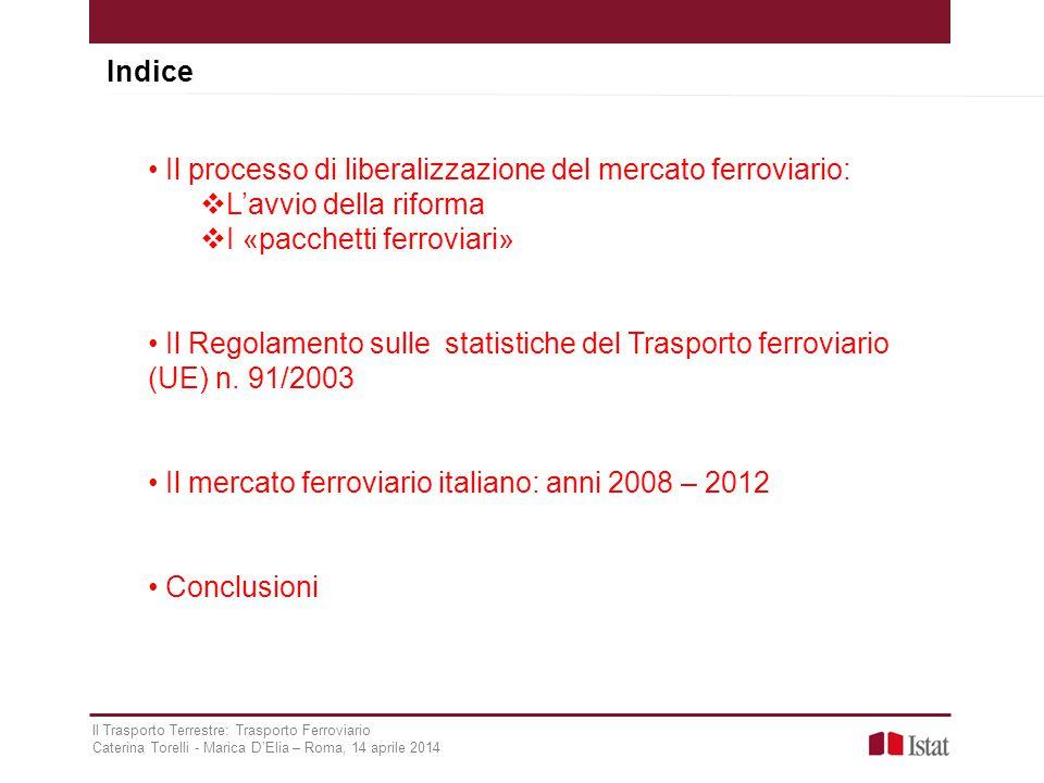 Indice Il Trasporto Terrestre: Trasporto Ferroviario Caterina Torelli - Marica D'Elia – Roma, 14 aprile 2014 Il processo di liberalizzazione del merca