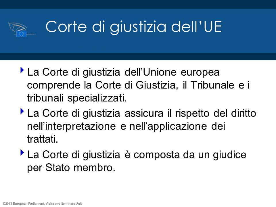 ©2013 European Parliament, Visits and Seminars Unit Corte di giustizia dell'UE  La Corte di giustizia dell'Unione europea comprende la Corte di Giust